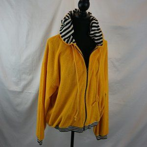 Horchow Full Loop Terry Striped Hooded Full Zip XL